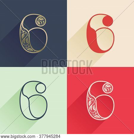 Classic Number Six Logo With Premium Decoration. Four Style Serif Font Set. Vector Icon Perfect To U