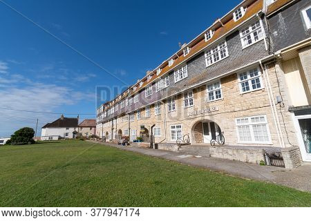 West Bay.dorset.united Kingdom.june 29th 2020.view Of The Pier Terrace At West Bay In Dorset