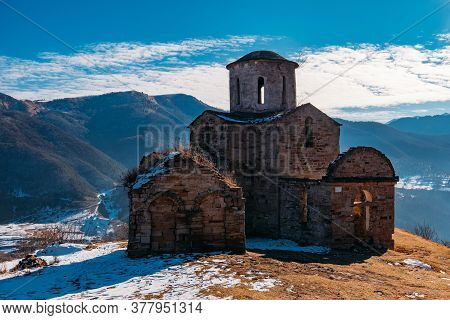 Old Abandoned Church In North Caucasian Mountains