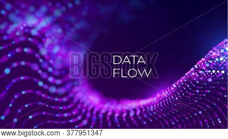 Data Flow Wave In Abstract Style On Purple Background. Multithreading Technology Vector. Bigdata Twi