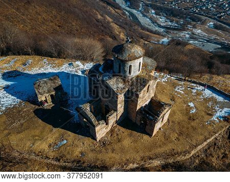 Old Abandoned Church In North Caucasian Mountains, Aerial View