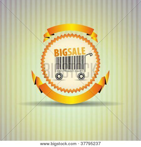 Abstract vector shopping cart made from bar-code - ribbon circle