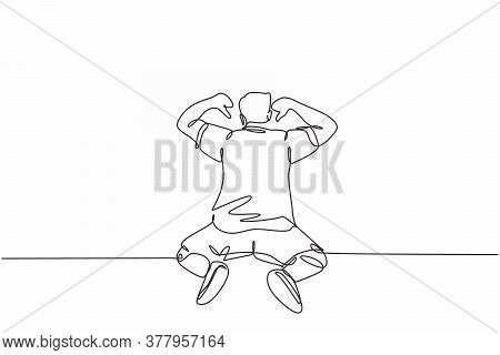 One Single Line Drawing Of Young Football Player Celebrating The Goal With Pointing His Fingers To T