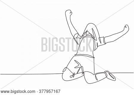 One Single Line Drawing Of Young Football Player Covers His Head Using The Jersey Celebrating His Go