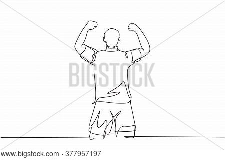 One Continuous Line Drawing Of Sporty Young Soccer Player Raises His Fist Hands Up To The Sky Emotio