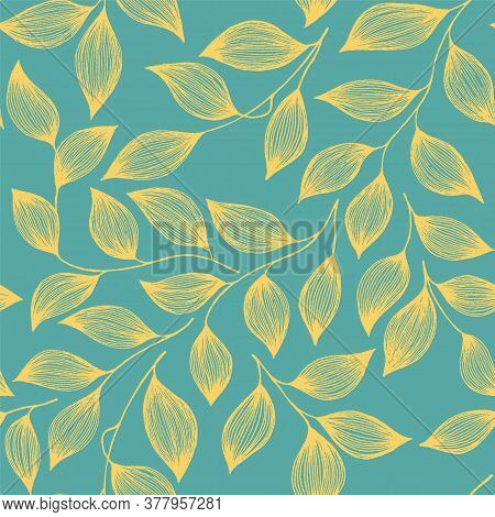 Wrapping Tea Leaves Organic Seamless Pattern Vector. Trendy Tea Plant Bush Yellow Leaves Floral Fabr