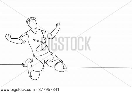 One Single Line Drawing Of Sporty Young Football Player Celebrating His Goal Scoring On The Field Em