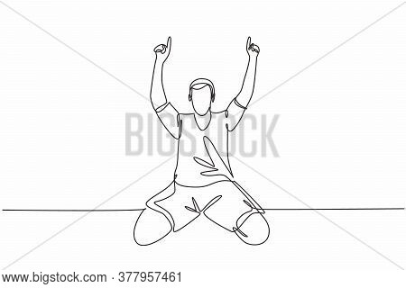 One Single Line Drawing Of Young Football Player Pointing His Fingers To The Sky Celebrating His Goa