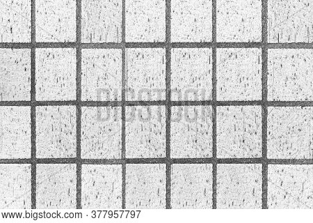 Exterior White Terracotta Tiles Floor Texture And Seamless Background. Clay Tile Floor
