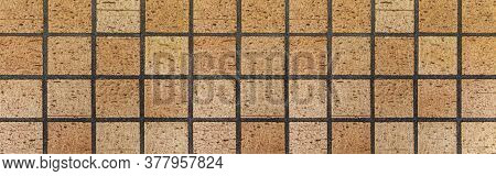 Panorama Of Exterior Brown Terracotta Tiles Floor Texture And Seamless Background. Clay Tile Floor