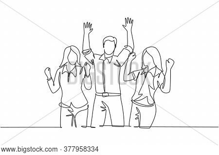 Single Continuous Line Drawing Of Young Happy Female And Male Workers Prancing With Joy At The Offic