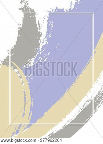 Vertical Frame With Paint Brush Strokes Background.  Stylish Design Template For Card. Vector Border