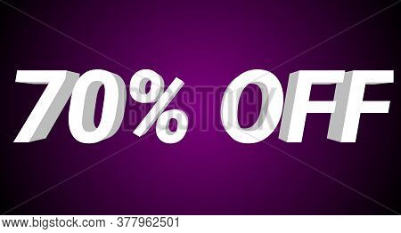 70% Off 3d Illustration. 70% Off 3d Rendering. 70% Off 3d Illustration In White Color With Purple Ba