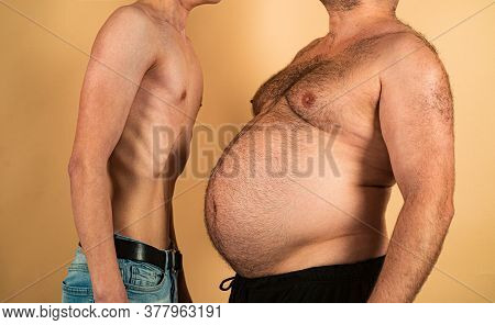 Obesity And Weight Loss. Fat Vs Skinny. Comical And Funny Fat And Thin Man