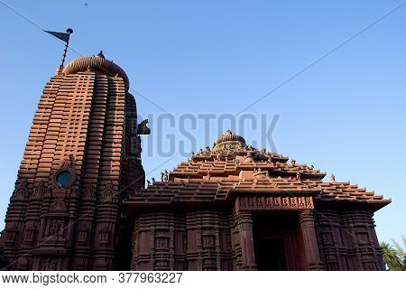 View Top Portion Of Birla Sun Temple, Bathed In Evening Sunlight Partially, At Gwalior, Madhya Prade
