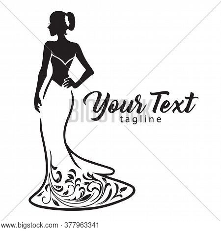 Elegant Wedding Bridal Wear Fashion Boutique Logo. Gown Sexy Dress Design Vector Line Illustration