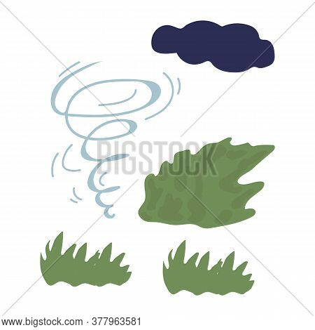 Illustration Of A Tornado. The Image Shows A Weather Phenomenon, With A Swirling Wind And A Cloud. T