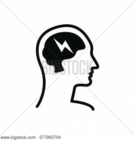 Black Solid Icon For Brain-storm Concept Creative Innovation Thunder Think Power Strategy