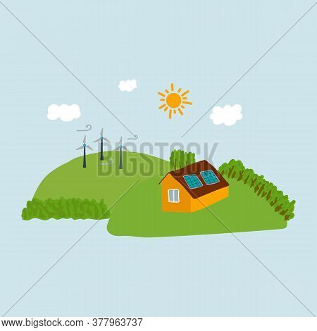 Illustration Of Windmills And A House On A Hill. The Image Shows Alternative Energy Sources. Nature,