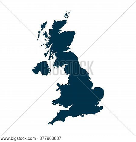 Outline Map Of United Kingdom. Isolated Vector Illustration, Easy To Edit