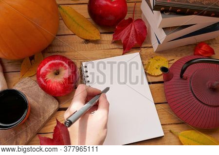 Autumn Mock Up.back To School. Thanksgiving Holiday. Writer's Day.a Cup Of Tea, Red Apples, Pumpkins