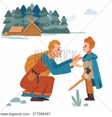 Viking Family. Medieval Viking Family. Mother And Son. Mother Takes Care Of Child. Vector Isolated O