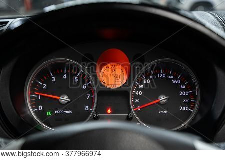 Novosibirsk/ Russia - June 23 2020: Nissan X-trail, Round Speedometer, Odometer With A Range Of 177