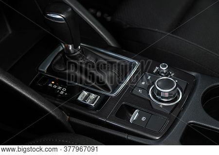 Novosibirsk/ Russia - June 30 2020: Mazda Cx-5, Gear Shift. Automatic Transmission Gear Of Car , Car