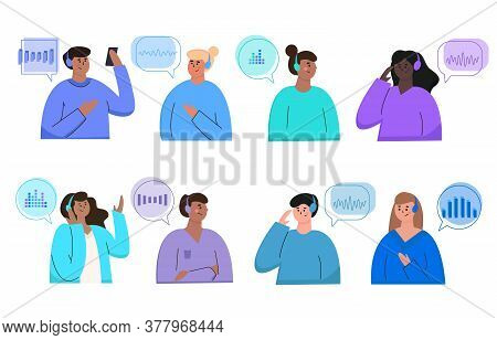 Podcast Concept. Set Of Illustrations About Podcasting. People Listening To Audio In Headphones