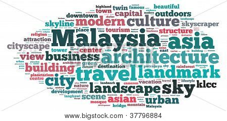 Malaysia info-text graphics and arrangement concept on white background (word cloud)