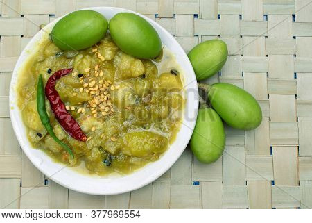 Spondias Mombin Sauce Or Hog Plum Chutney In A Plate With Raw Fruits