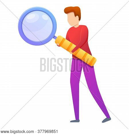 Headhunter Magnifier Icon. Cartoon Of Headhunter Magnifier Vector Icon For Web Design Isolated On Wh