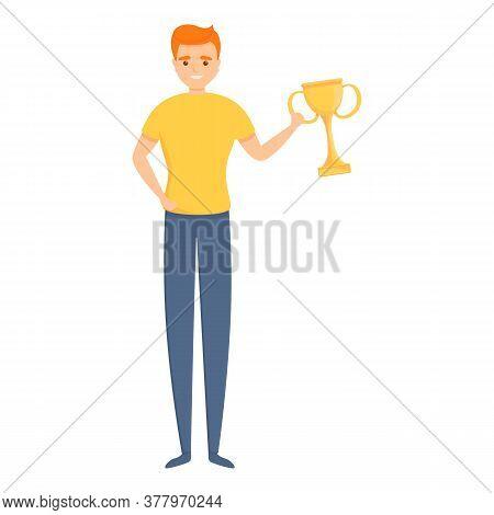 Dog Handler Win Gold Cup Icon. Cartoon Of Dog Handler Win Gold Cup Vector Icon For Web Design Isolat