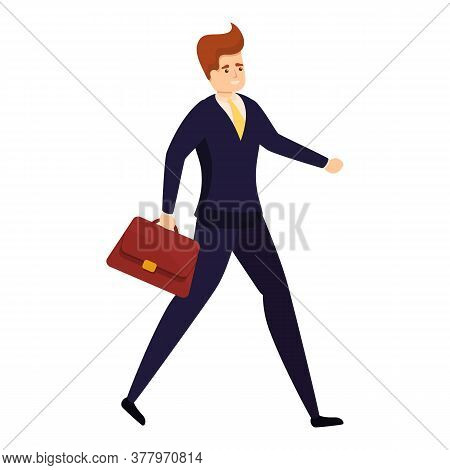 Walking Bank Teller Icon. Cartoon Of Walking Bank Teller Vector Icon For Web Design Isolated On Whit