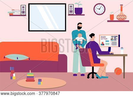 Babysitter For Working Family Flat Composition With Baby Parents Searching Online Child Care Service