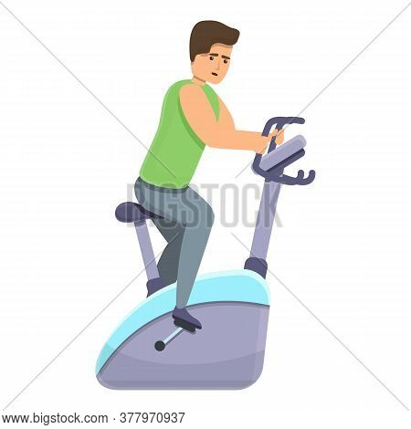 Gym Exercise Bike Icon. Cartoon Of Gym Exercise Bike Vector Icon For Web Design Isolated On White Ba