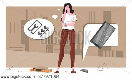Broke Smartphone Flat Composition Girl Dropped Her Bag On The Ground And Phone Crashed Vector Illust