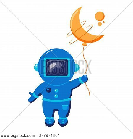 Funny Spaceman Fly With Moon Like A Balloon. Funny Cosmonaut.
