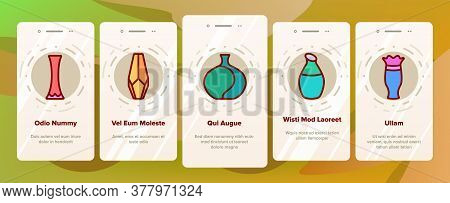 Vase Flowers Decorative Dishware Onboarding Mobile App Page Screen Vector. Antique And Modern Vase I