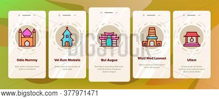 Temple Architecture Building Onboarding Mobile App Page Screen Vector. Religion Collection Nation Te