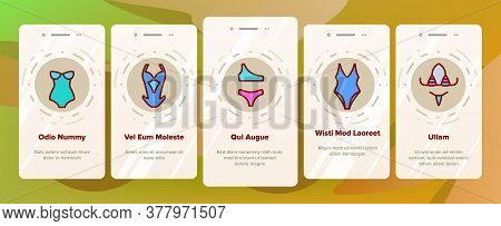 Swimsuit Woman Clothes Onboarding Mobile App Page Screen Vector. Glamor Swimsuit, Female Bikini, Und
