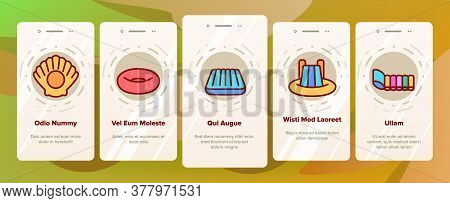 Swimming Ring And Pool Mattress Onboarding Mobile App Page Screen Vector. Swimming Ring In Different