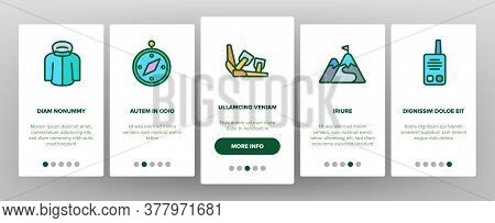 Snowboarding Equipment Onboarding Mobile App Page Screen Vector. Mask And Snowboard, Shoes And Helme
