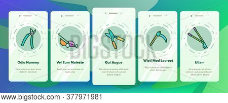 Lawn Mover Equipment Onboarding Mobile App Page Screen Vector. Garden Scissors And Electronic Device