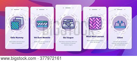 Floor And Material Onboarding Mobile App Page Screen Vector. Parquet And Carpet, Laminate And Marble