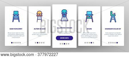 Feeding Baby Chair Onboarding Mobile App Page Screen Vector. Childhood Dinner Chair, Furniture Stool