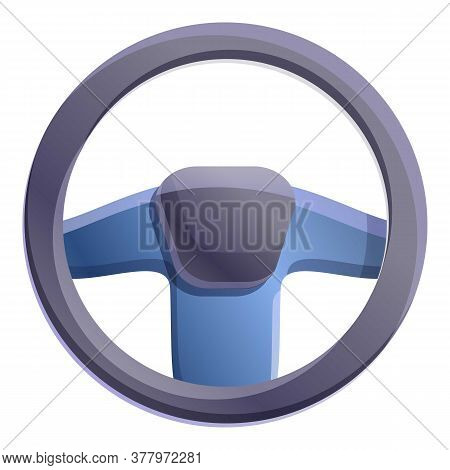 Leather Steering Wheel Icon. Cartoon Of Leather Steering Wheel Vector Icon For Web Design Isolated O