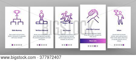 Contest Sport Activity Onboarding Mobile App Page Screen Vector. Box And Run, Arm Wrestling And Tug