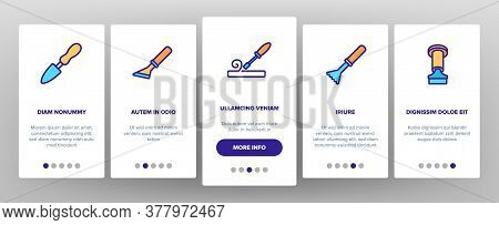 Chisel Carpentry Tool Onboarding Mobile App Page Screen Vector. Sharp Steel Chisel With Hammer, Carp