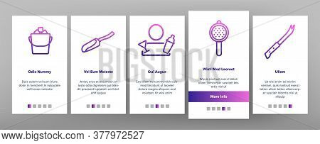 Bartender Equipment Onboarding Mobile App Page Screen Vector. Bartender Shaker And Bucket With Ice,